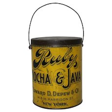 Circa: Late 1800's to 1907 'Ruby Mocha & Java' Litho Tin Advertising  Coffee Pail