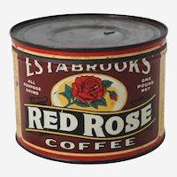Circa: 1940's 50's Estabrooks 'Red Rose' Key Wind Litho Coffee Tin