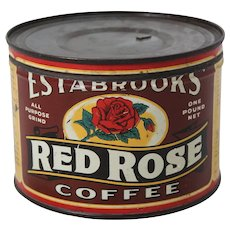 Circa: 1940's 50's Estabrooks 'Red Rose' Key Wind Litho Coffee Tin