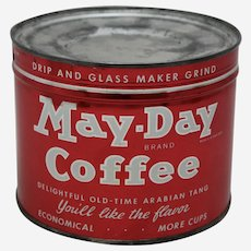 Circa: 1940's, 50's Unopened Key Wind 'May-Day' Litho Coffee Can