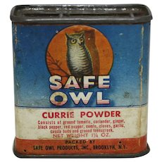 "Early 1900's ""Safe Owl"" Currie Powder Spice Container"