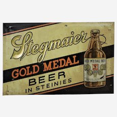 "Circa: 1930's, 40's Embossed Metal ""Stegmaier Gold Medal Beer"" Advertising Sign."