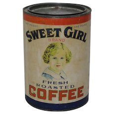 "Circa: 1930's  ""Sweet Girl Brand"" Paper Labeled 1 lb. Coffee Tin"
