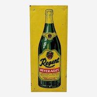 """Rare, Circa: 1940's 50's """"Regent Beverages"""" Embossed Tin Advertising Door Push."""