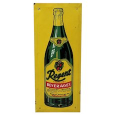 "Rare, Circa: 1940's 50's ""Regent Beverages"" Embossed Tin Advertising Door Push."