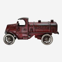 "Circa: Early 1930's. A.C. Williams 7"" Cast Iron C-Cab Gasoline Tanker Truck."