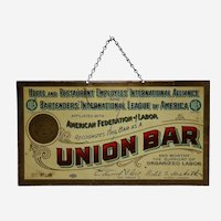 Circa: 1929-1939 Bartenders' International League of America 'Union Bar' Litho Metal Advertising Sign