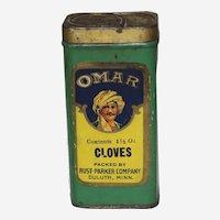 """Circa 1910-1935 """"Omar"""" Brand Cloves Spice Tin"""