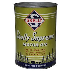 Circa: 1948, Unopened 1 qt. Litho Can of Skelly Supreme Motor Oil