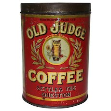 Rare, Circa: 1918-1929 1 lb. Old Judge Litho Coffee Tin