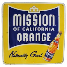 "1940's, 1950's Large 23 3/4"" Square Embossed ""MISSION BEVERAGE""  Metal Advertising Sign"