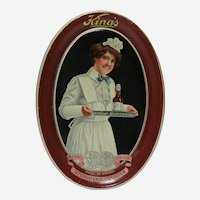 Circa: 1915, King's Malt (Brewery) Litho Metal Oval Advertising Tip Tray