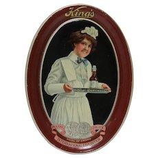 Circa: 1915, King's Malt Litho Metal Oval Advertising Tip Tray