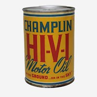 Circa: 1940's, 50's Champlin 1 Qt. Litho Oil Can