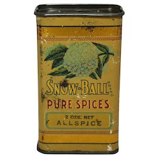 "Circa: Early 1900's ""Snow-Ball"" Brand Allspice Litho Spice Tin"