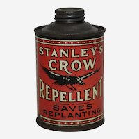 Circa: 1920's, 1930's Stanley's Crow Repellent 8 oz. Litho Advertising Tin