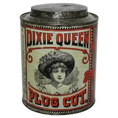 Circa: Early 1900's Dixie Queen Plug Cut Tobacco Litho Advertising Tin