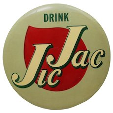 "Circa: 1950's, ""Jic Jac"" (Soda) 9"" Diameter Celluloid  Advertising Sign."
