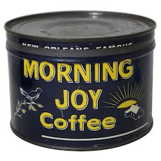 Circa: 1940's Morning Joy Coffee 1 lb. Litho Key-Wind Coffee Can