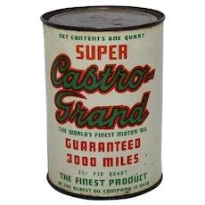 Rare, Circa: 1930's Unopened 'Super Castro Grand' Motor Oil Litho 1 qt. Can.