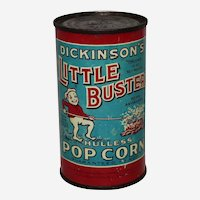 Circa: 1930's, Still Full Unopened Little Buster Popcorn Litho 10 oz. advertising tin.