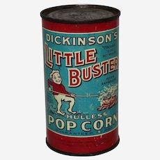Circa: 1930's, Still Full Unopened Little Buster Popcorn Litho 10 oz. advertising tin.