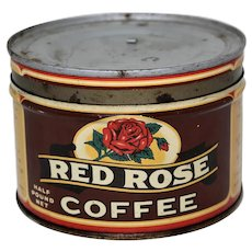 "Rare 1940's, 50's Small 1/2 lb. Estabrooks ""Red Rose"" Key Wind Litho Coffee Tin"