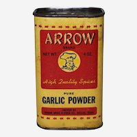 Circa: 1940's, 50's Arrow Brand 4 oz. Garlic Powder Advertising Spice Container.