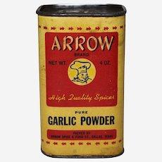 Circa: 1940's, 50's Arrow Brand 4 oz. Garlic Powder Advertising Spice Container.