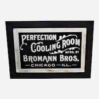 "Circa: Late 1800's ""Perfection Cooling Room"" Reverse Painting on Beveled Glass, Framed Advertising Sign"