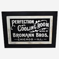"""Circa: Late 1800's """"Perfection Cooling Room"""" Reverse Painting on Beveled Glass, Framed Advertising Sign"""