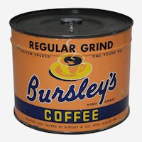 Circa: 1947, Unopened 'Bursley's'  1 Lb. Key Wind Litho Coffee Can