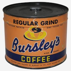 Circa: 1947, Unopened 'Bursley's'  1 Lb. Key Wind Litho Coffee Can