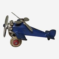 "Circa: 1930-1936, Cast Iron 4 1/4"" Hubley ""Giroplane"" Toy Airplane"