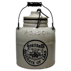 Circa: 1910-1936 'Grasselli' Arsenate of Lead Empty Stoneware Crock