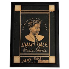 Circa: 1930's Jimmy Dale Boy's Shirt's Framed Advertising  Box