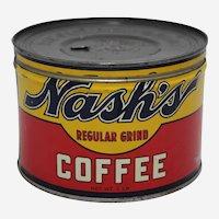 Circa: 1941-1950, Nash's Coffee 1 lb. Litho Key Wind Coffee Tin