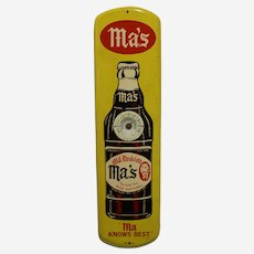 """Circa: Mid 1940's to 1950's Large 27"""" Tall, Ma's Old Fashioned Root Beer Litho Advertising Thermometer"""