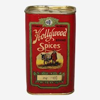 Circa: 1925-1940 Hollywood Brand 4 oz. Nutmeg Advertising Spice Container