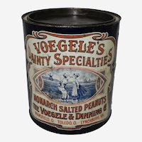 "Early 1900's ""Voegele's Dainty Specialties"" Large Salted Peanuts Advertising Tin"