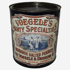 """Early 1900's """"Voegele's Dainty Specialties"""" Large Salted Peanuts Advertising Tin"""