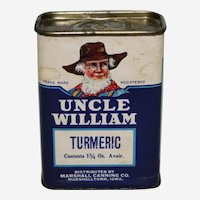 Circa: 1930's, 40's, 'Uncle William' Brand (Turmeric) Advertising Spice Container