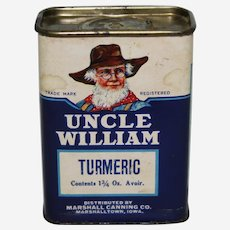 Circa: 1930's, 40's, 'Uncle William' Brand (Turmeric) Advertising Spice Container