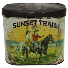 "Circa: Early 1900's ""Sunset Trail"" Litho 5 Cent Cigar Tin"