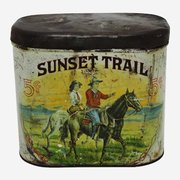"Circa: Early 1900's ""Sunset Trail"" Litho 5 Cent Cigar Tin"