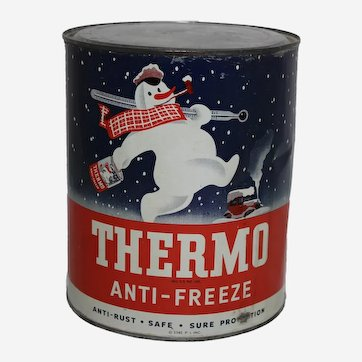 """Circa: Late 1940's One Gallon Litho Snowman """"Thermo Anti-Freeze"""" Can"""
