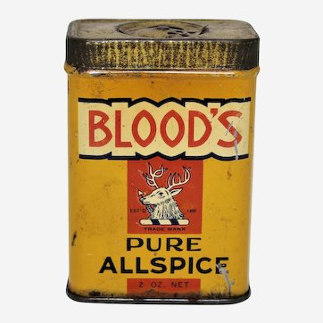 Circa: Early 1900's 'Blood's' Pure Allspice' Litho Advertising Spice Tin