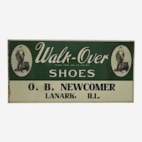 "Circa: 1920's ""Walk-Over Shoes"" 23 1/2"" Metal Advertising Sign"