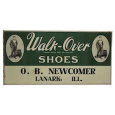"""Circa: 1920's """"Walk-Over Shoes"""" 23 1/2"""" Metal Advertising Sign"""
