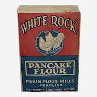 "Very Rare Circa: Early 1900's  Empty 2 lb. Box ""White Rock Pancake Flour"" from the Pekin Indiana Flour Mills."